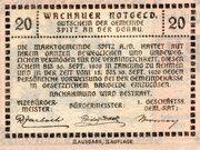 20 Heller (Wachau - Ranna-Mühldorf; Red issue) -  revers