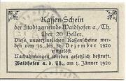 20 Heller (Waidhofen an der Thaya) – revers