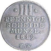 3 pfennige Georg Heinrich – revers