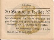 20 Heller (Waxenberg) – avers
