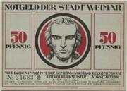 50 Pfennig (Weimar; Goethe and Schiller Series - Schiller, Red Issue) -  avers