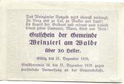 20 Heller (Weinzierl am Walde) – revers