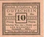 10 Pfennig (10 Pfennig (Kreisstadt Rofenberg; West Prussia) – avers