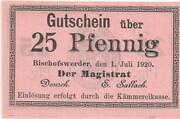 25 Pfennig (Bischofswerder) – avers