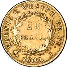 20 frank Jérôme Bonaparte – revers