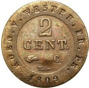 2 centimes Jérôme Bonaparte – revers