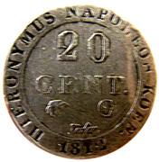 20 centimes Jérôme Bonaparte – revers