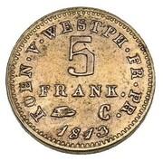 5 frank Jérôme Bonaparte (Frappe essai en cuivre) – revers