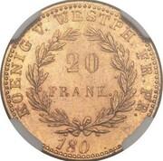 20 frank Jérôme Bonaparte (Frappe essai en bronze-aluminium) – revers