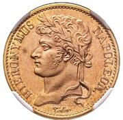 20 frank Jérôme Bonaparte (Frappe essai en cuivre) – avers