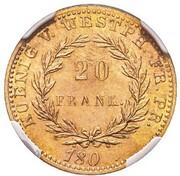 20 frank Jérôme Bonaparte (Frappe essai en cuivre) – revers