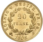 20 frank Jérôme Bonaparte (Refrappe) – revers