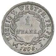 1 frank Jérôme Bonaparte (Frappe essai en plomb) – revers