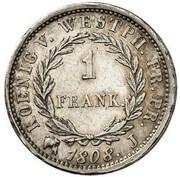 1 frank Jérôme Bonaparte – revers
