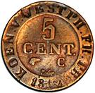 5 centimes Jérôme Bonaparte – revers