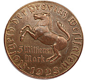 5 millions de marks - Westfalen (Freiherr vom Stein) – avers