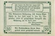 20 Heller 1920 Gutschein -  revers