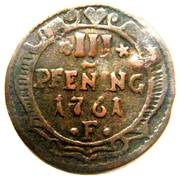3 Pfennig - Fredrik I (Occupation suédoise) – revers