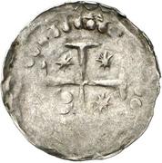 1 Pfennig - Heinrich V. and bishop Bischof Burkhard II. von Asorn -  revers