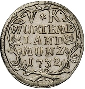 5 Kreuzer - Eberhard Ludwig – revers