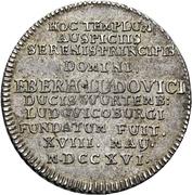 1 Ducat - Eberhard Ludwig (Silver pattern strike; Ludwigsburg castle chapel) – revers