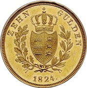 10 gulden Guillaume Ier – revers