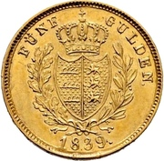 5 gulden Guillaume Ier -  revers