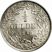 ½ gulden Guillaume Ier – revers