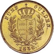 5 gulden Guillaume Ier – revers