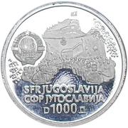 1000 dinars (Sinjska Alka) – avers