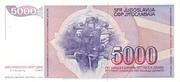 5000 dinara – revers