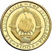 100 Dinars (25ème anniversaire de la République) – avers