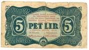 5 Lir (Yugoslav Partisans - Slovenia) 1944 – avers
