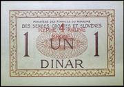 4 Krune (overstamped 1 Dinar) – revers