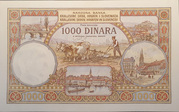 1000 dinara 1920 with rosette – revers