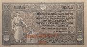 40 Kruna on 10 Dinars provisional issue 1919 – avers
