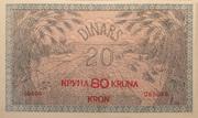 80 Kruna on 20 Dinars provisional issue 1919 – revers