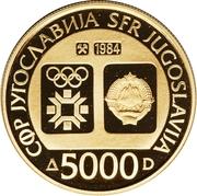 5000 Dinara (Winter Olympics 1984 - Flame) – avers