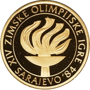 5000 Dinara (Winter Olympics 1984 - Flame) – revers