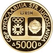 5000 Dinara (Winter Olympics 1984 - Emblem) – avers