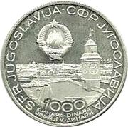 1000 dinars (Championnat du monde de tennis de table) – avers