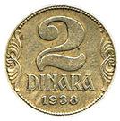 2 dinars (Royaume de Yougoslavie - petite couronne) – revers
