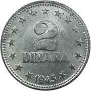 2 dinars (après guerre) – revers