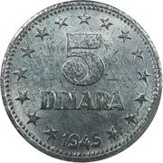5 dinars (après guerre) – revers