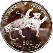 500 nouveaux zaïres (Léopard) – revers