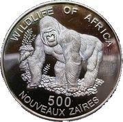 500 nouveaux zaïres Gorille – revers
