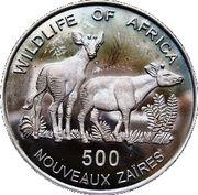 500 nouveaux zaïres (Okapis) – revers
