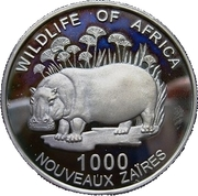 1000 nouveaux zaïres (Hippopotame) – revers