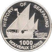 1000 nouveaux zaïres (Caravelle portugaise) – revers