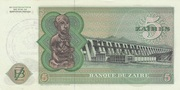 5 Zaïres (Provisional issue) – revers